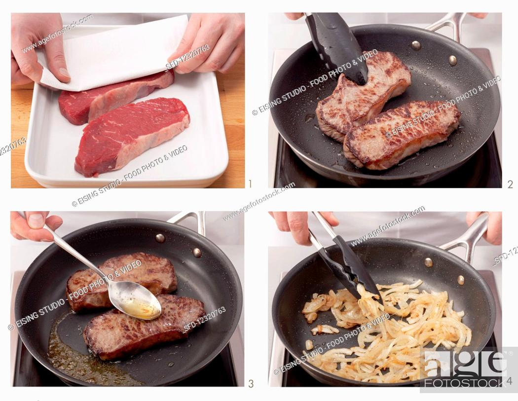 Stock Photo: Fried rump steak with onions being made.