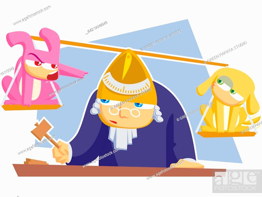 Stock Photo: A court judge and the scales of justice.