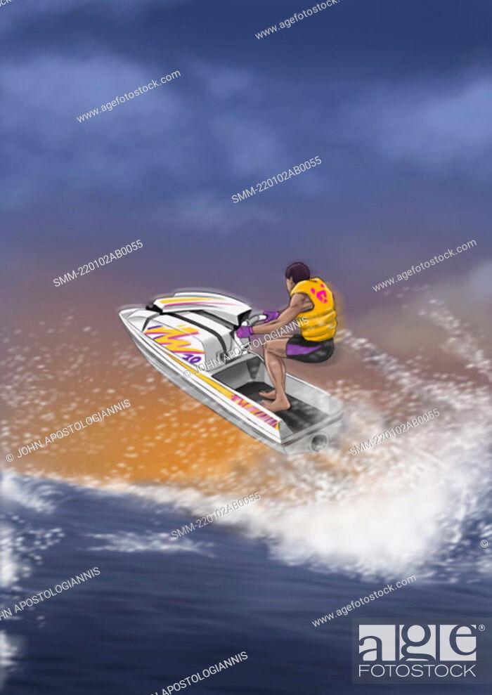 Stock Photo: Man sailing through the air on a jetski.