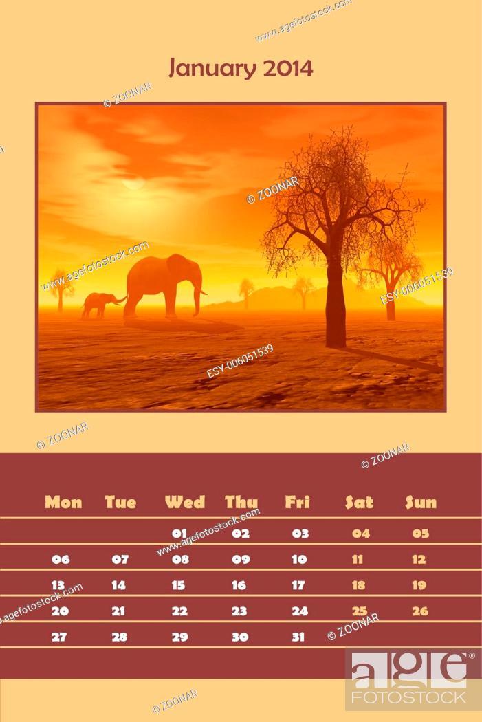 Stock Photo: Safari calendar for 2014 - january.
