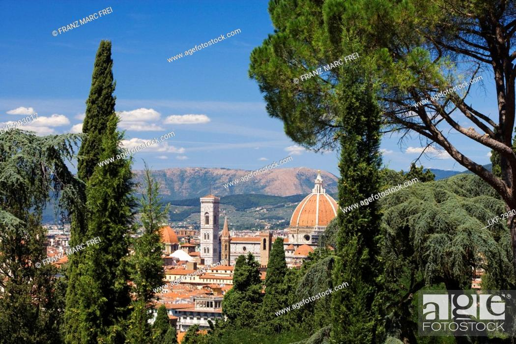 Stock Photo: View from Piazza Michelangelo over Florence and the cathedral, Florence, Tuscany, Italy.