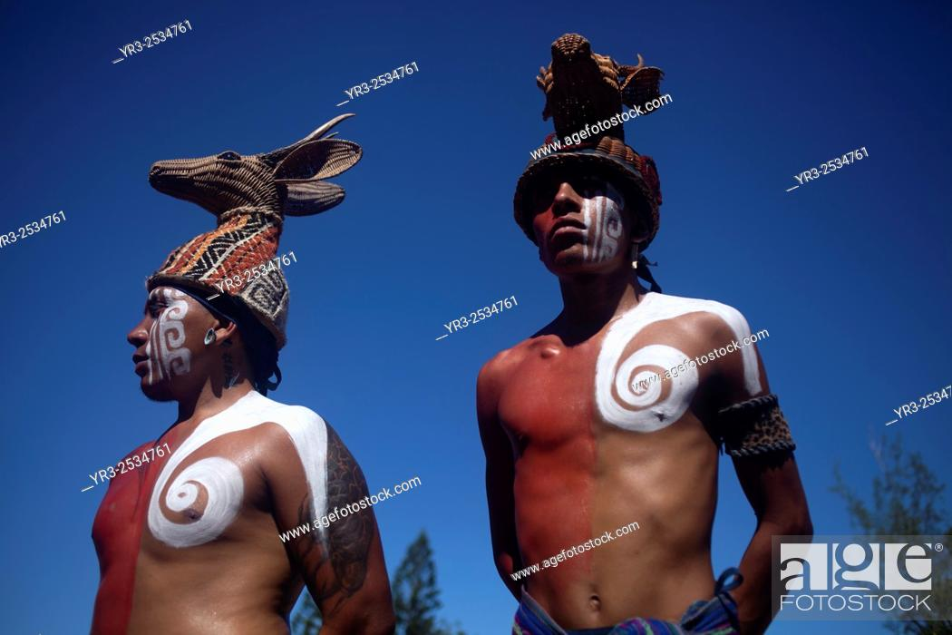 Stock Photo: A Mayan Ball Player at the first ¨Pok Ta Pok¨ World Cup in Piste, Tinum, Yucatan, Mexico, September 19, 2015. Five teams from Belize.