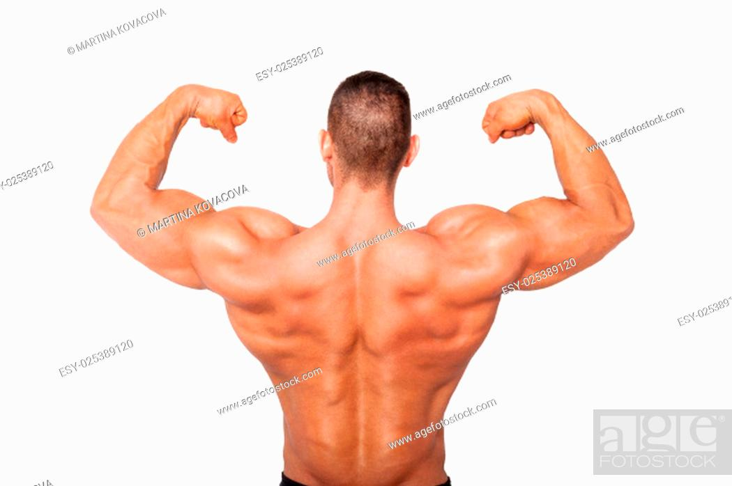 Stock Photo: Sexy shirtless bodybuilder showing biceps. Health, sports and fitness.