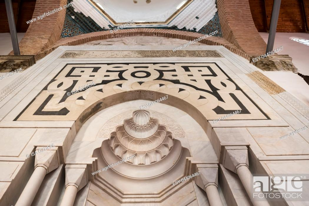 Stock Photo: Interior detailed view of Isa Bey Mosque which has impressive works of architectural art remaining from Anatolian beyliks in Selcuk,Izmir,Turkey.