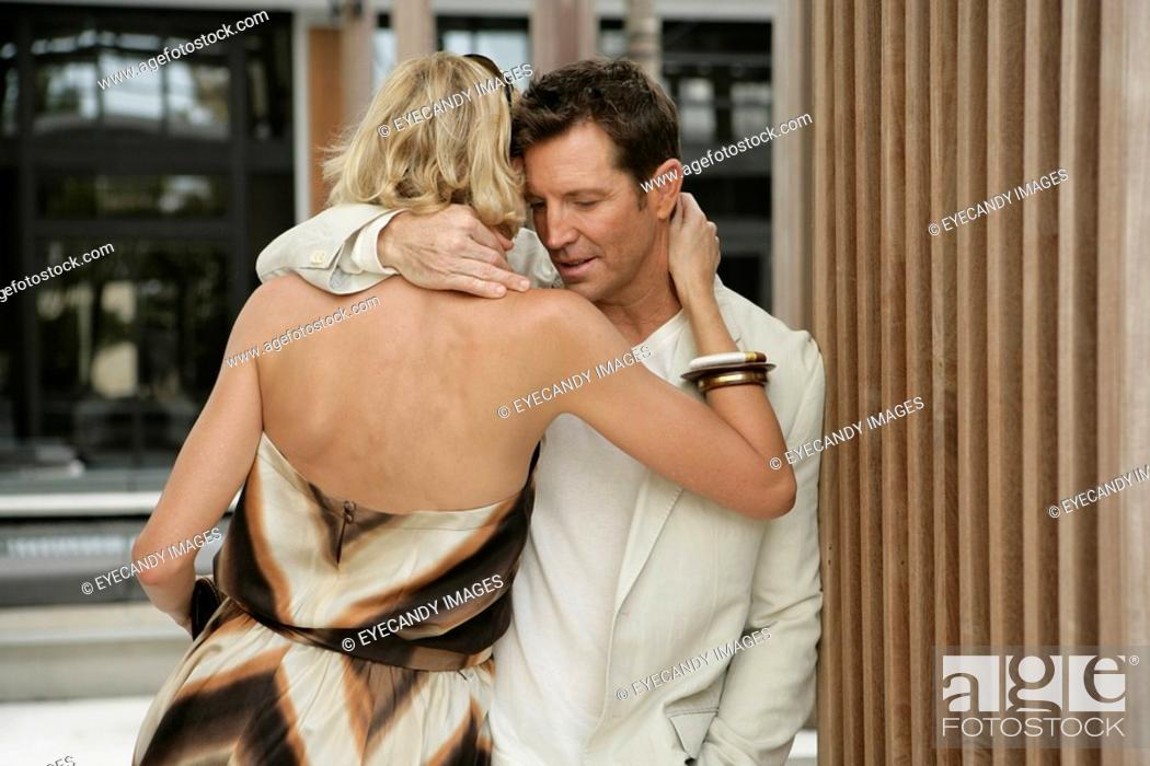 Stock Photo: View of a couple embracing.