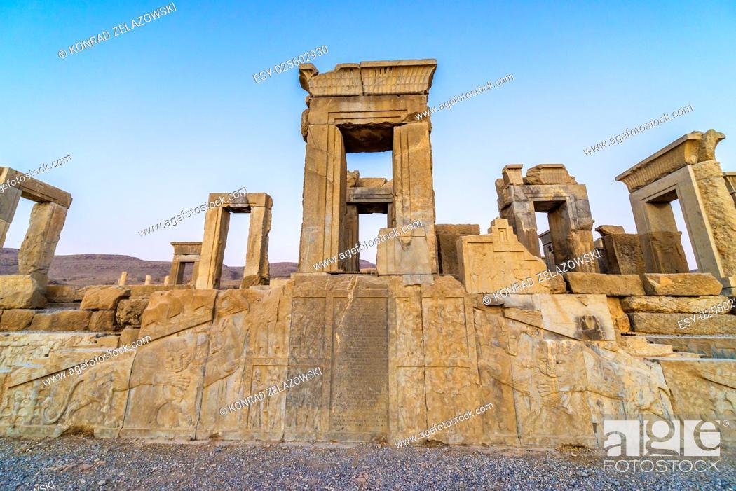 Stock Photo: Ruins of Tachara Palace in Persepolis ancient city in Iran.