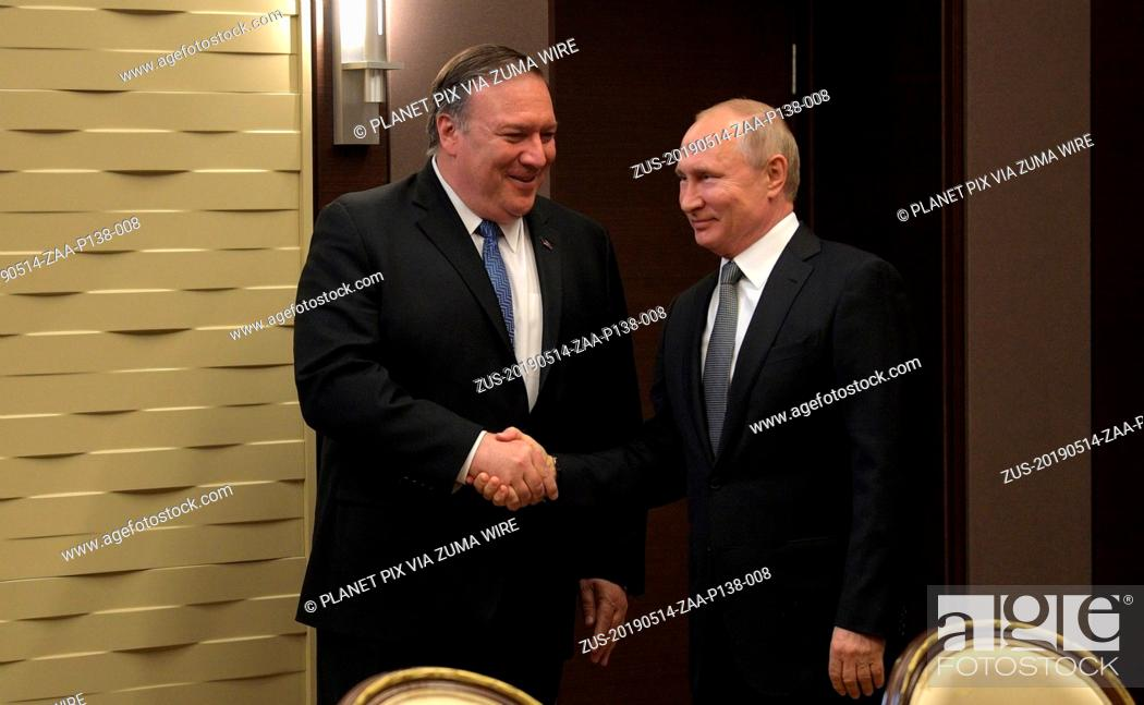 Stock Photo: May 14, 2019 - Sochi, Russia - Russian President Vladimir Putin, right, welcomes U.S. Secretary of State Mike Pompeo prior to a bilateral meeting May 14.