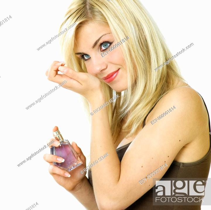 Stock Photo: woman's portrait with perfume.