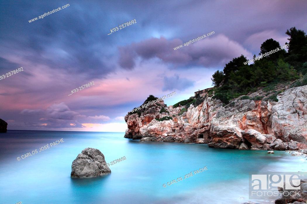 Stock Photo: Cove in the evening after a storm, Serra de Tramuntana, Deia, Majorca, Balearic Islands, Spain.