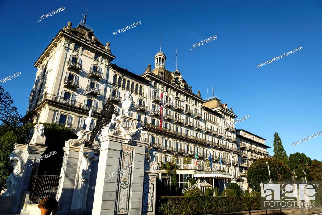 Stock Photo: Grand Hotel des Iles Borromees, Stresa, Lake Maggiore, Piedmont, Italy.