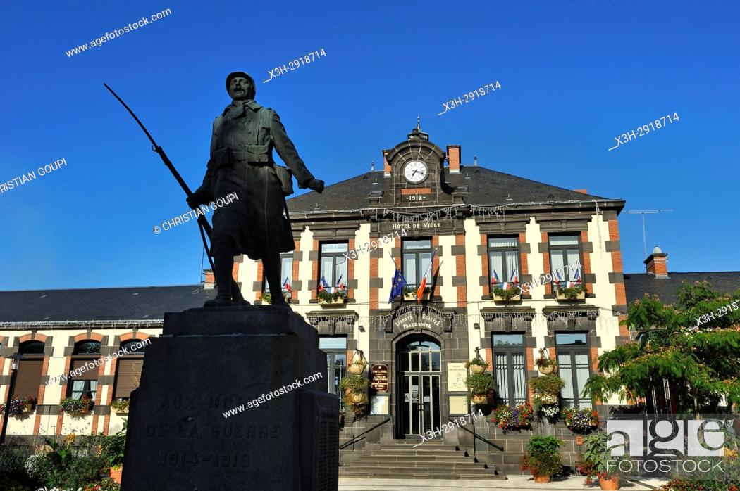Stock Photo: World War II memorial in front of the city hall of Saint-Eloy-les-Mines, Puy-de-Dome department, Auvergne-Rhone-Alpes region, France, Europe.