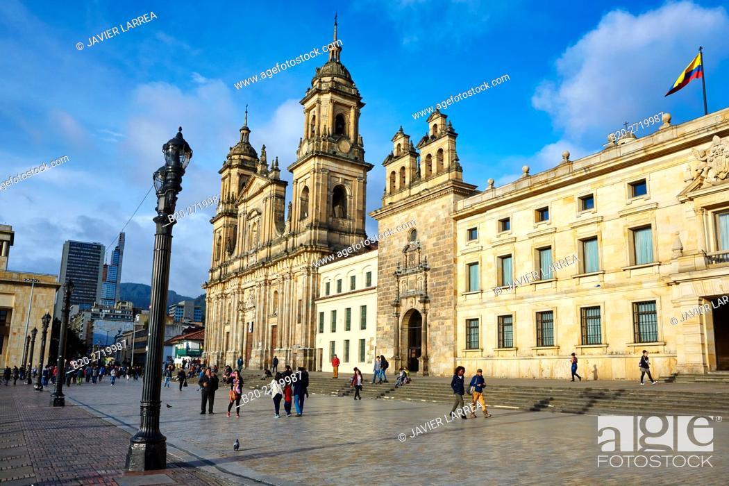 Stock Photo: Catedral Primada de Colombia, Plaza de Bolivar, Bogota, Cundinamarca, Colombia, South America.