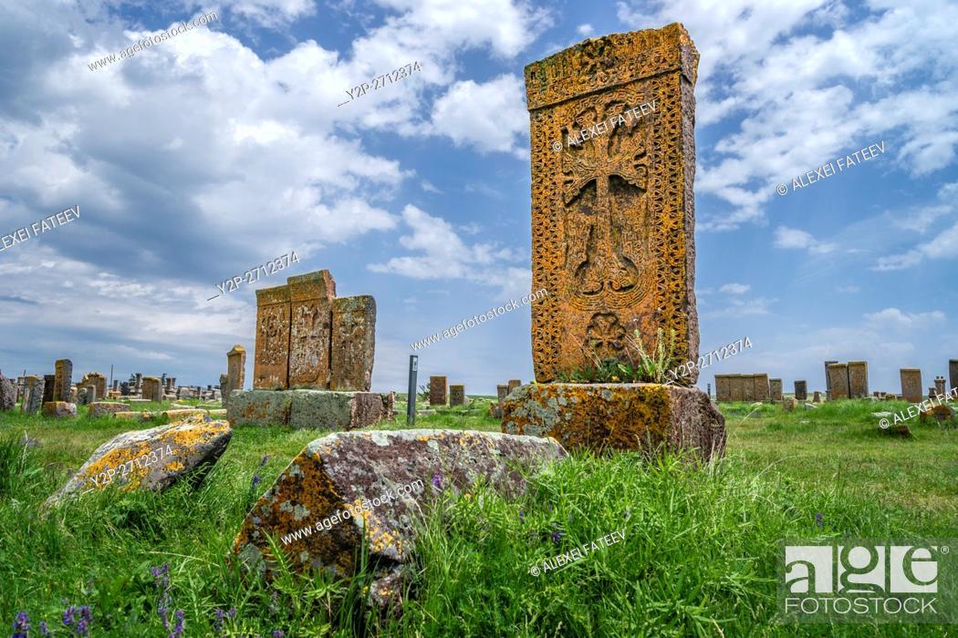 Stock Photo: An ensemble of khachkars (stone crosses) at medieval Noratus cemetry in Armenia.