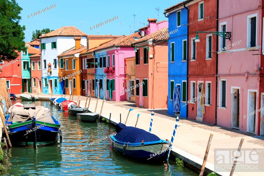 Stock Photo: Burano's Colored Houses, Venice.