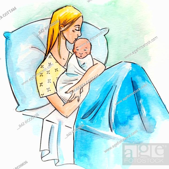 Stock Photo: A woman in a hospital bed holding her newborn baby.