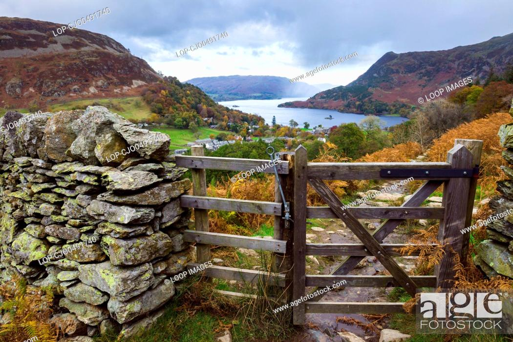 Stock Photo: View over Glenridding and Ullswater in the Lake District National Park.