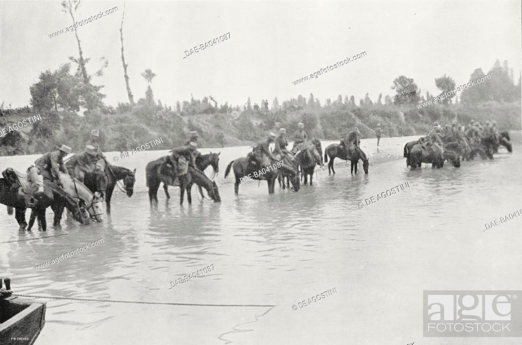 Imagen: Watering the horses in the Soca (Isonzo), Italian advance beyond the Soca (Isonzo), Italy-Slovenia, World War I, from L'Illustrazione Italiana, Year XLII, No 26.