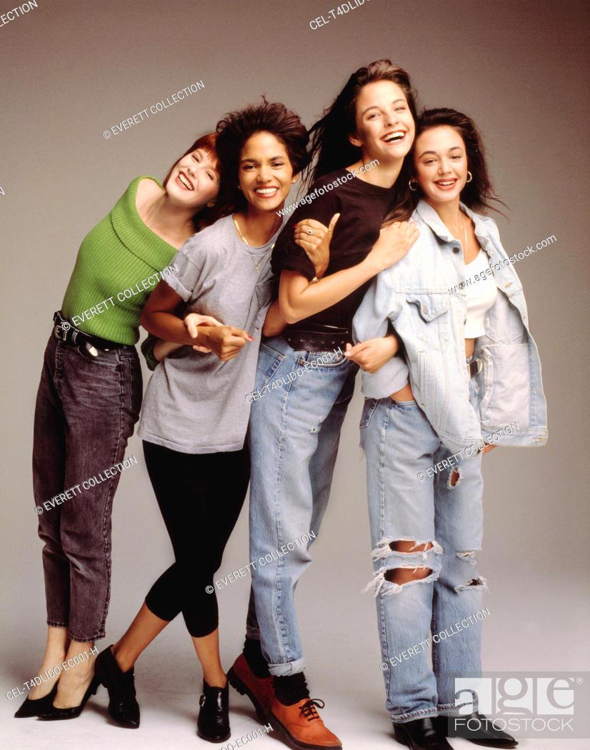 Stock Photo: LIVING DOLLS, Deborah Tucker, Halle Berry, Allison Elliot, Leah Remini (l-r), 1989.