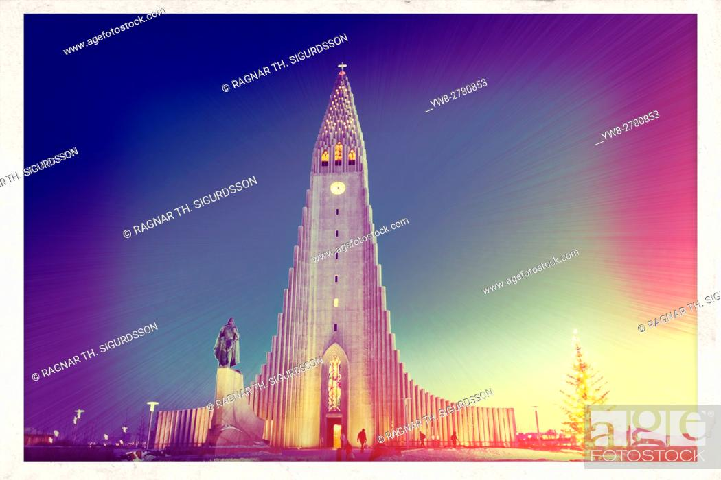 Stock Photo: Hallgrimskirkja Church at Christmas time, Reykjavik, Iceland.