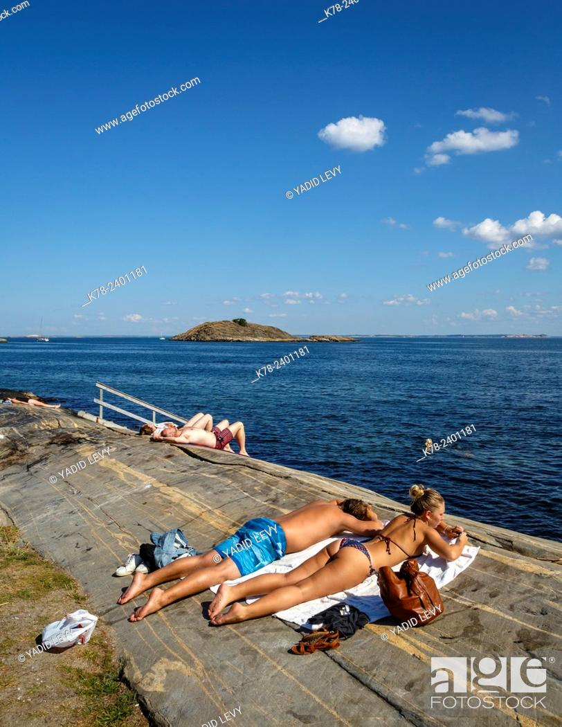 People Sunbathing At Koster Islands Vastra Gotaland Region Sweden Stock Photo Picture And Rights Managed Image Pic K78 2401181 Agefotostock