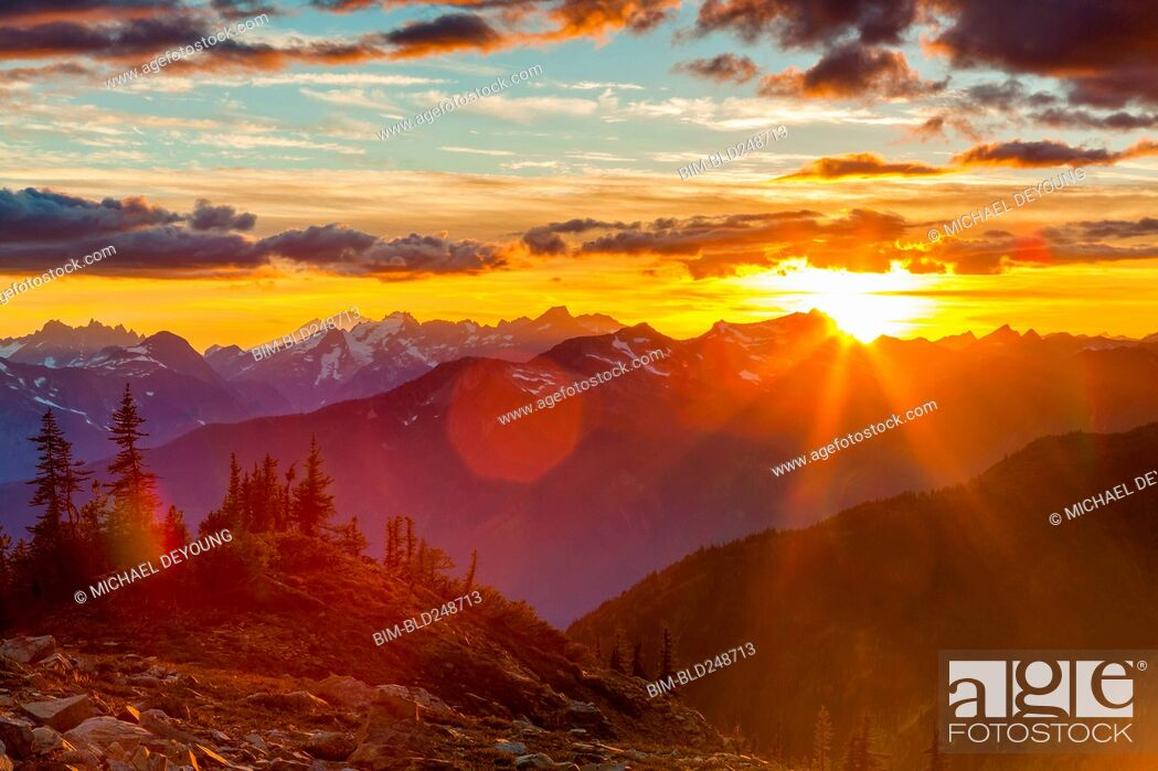 Stock Photo: Mountain landscape at sunset.