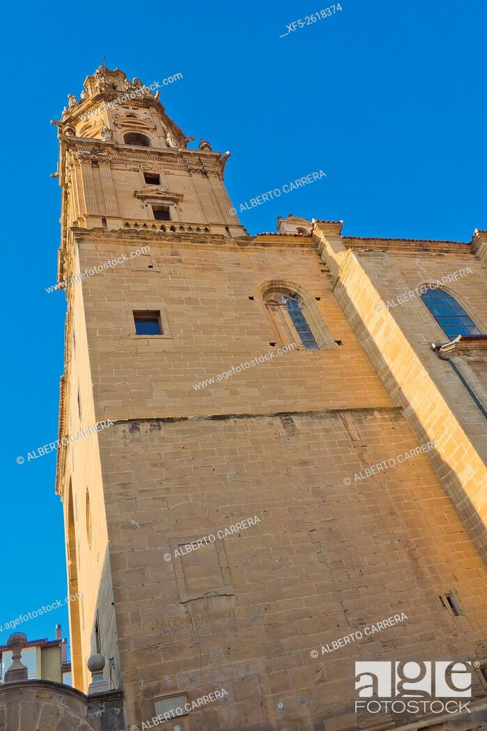 Stock Photo: Parish Church of Santo Tomás Apostol, Baroque Tower, Plateresque Main Entrance, Gothic Style, S. XVI-S. XVIII, Spanish Property of Cultural Interest, Haro.
