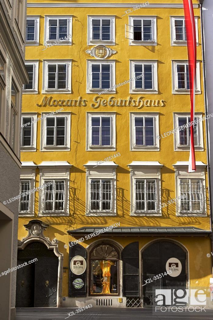 Stock Photo: Facade of the house on historic Getreidegasse street where Wolfgang Amadeus Mozart was born in 1756. Salzburg, Austria.