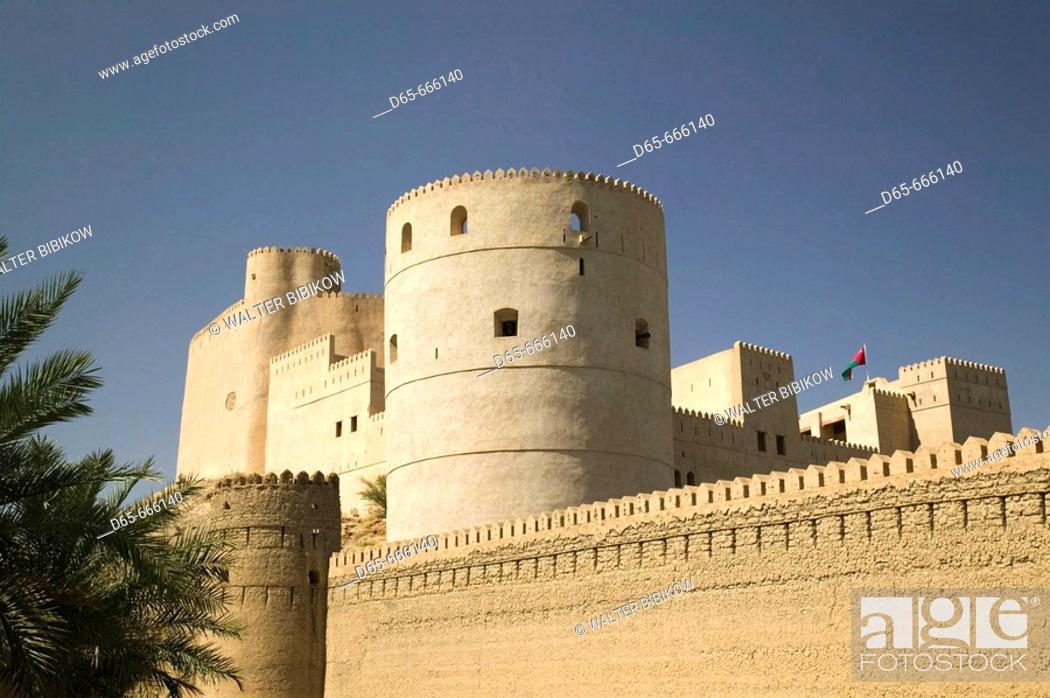 Stock Photo: OMAN-The Batinah Plain-Rustaq: Rustaq, once Oman's Capital in the 17th century- Rustaq Fort / Exterior.