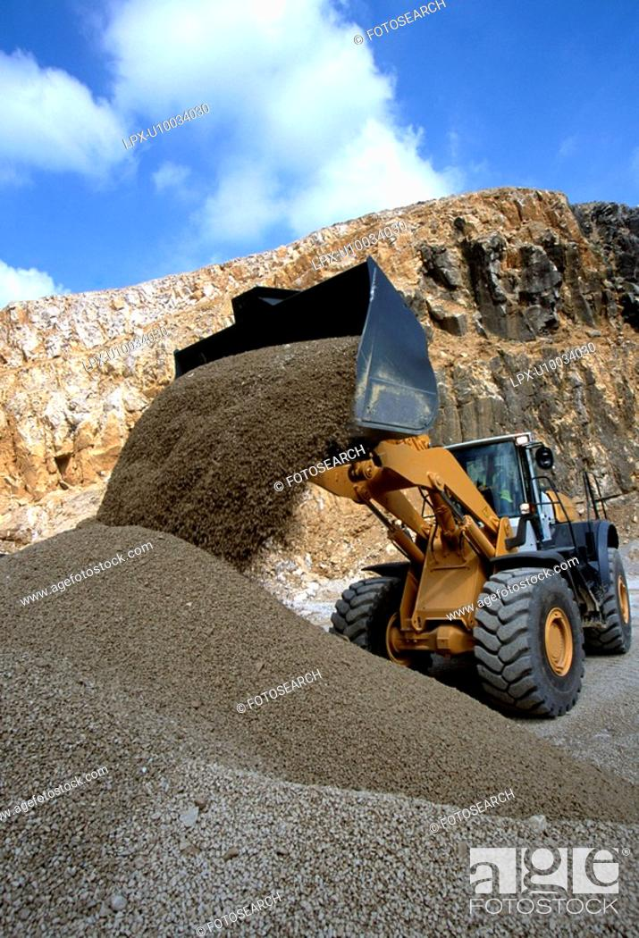 Stock Photo: Wheeled Loader, quarry site.