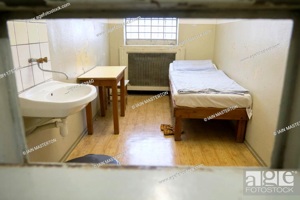 Stock Photo: Former prisoner cell at East German secret police or STASI prison at Hohenshonhausen in Berlin Germany.