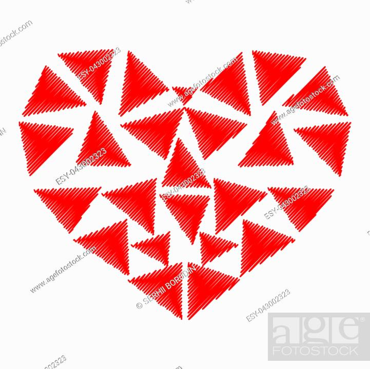 Stock Vector: Heart red color with parts triangles.
