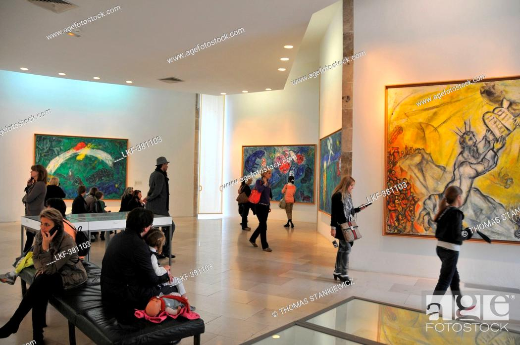 Stock Photo: People inside of Musee Marc Chagall, Nice, Cote d'Azur, South France, Europe.