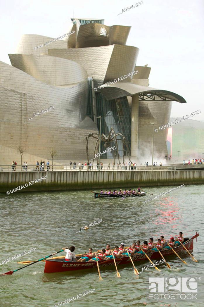 Guggenheim Museo.Trainera In Ria Del Nervion And Museo Guggenheim Bilbao Bizkaia