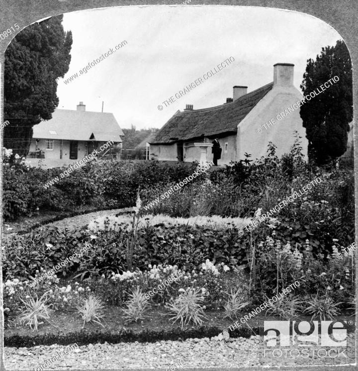 Stock Photo: ROBERT BURNS (1759-1796).Scottish poet. The birthplace of Robert Burns, Ayr, Scotland. Stereograph, c1905.