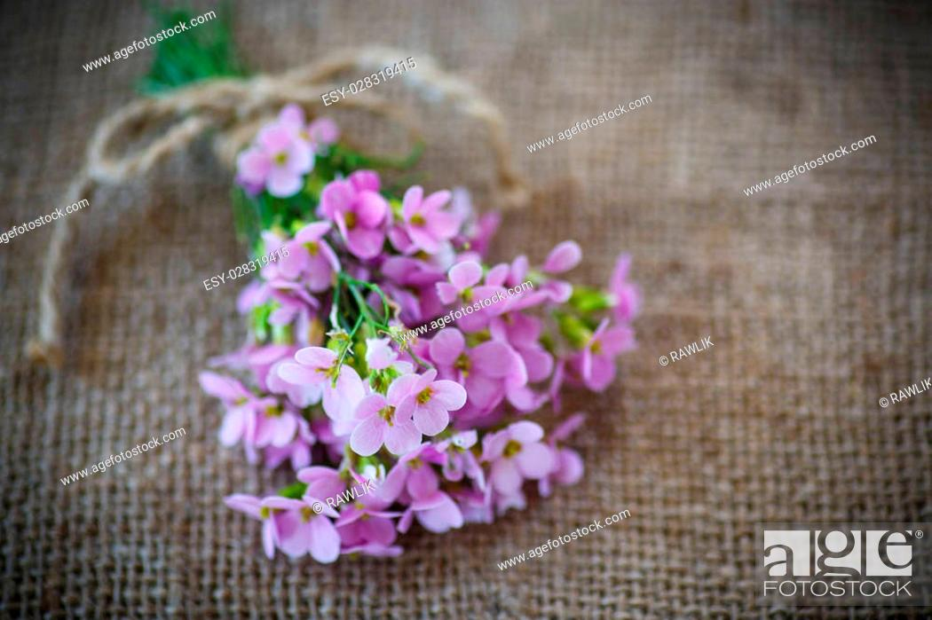 Stock Photo: bouquet of spring flowers on the table of burlap.