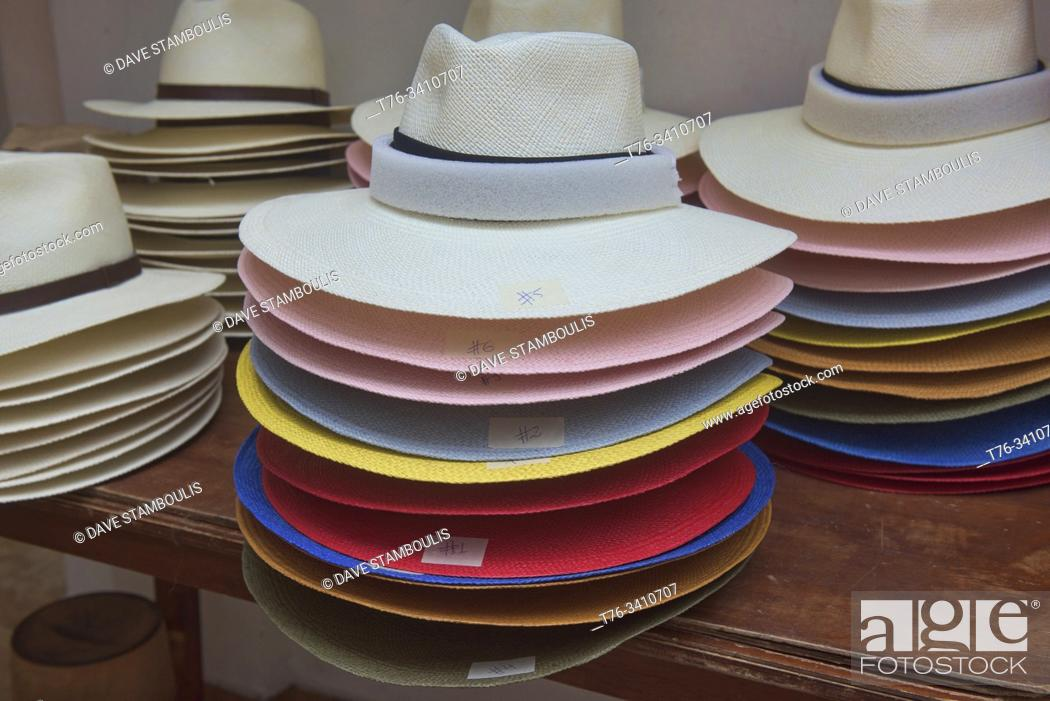 Stock Photo: Traditional Panama hats (paja toquilla), which actually come from Ecuador.