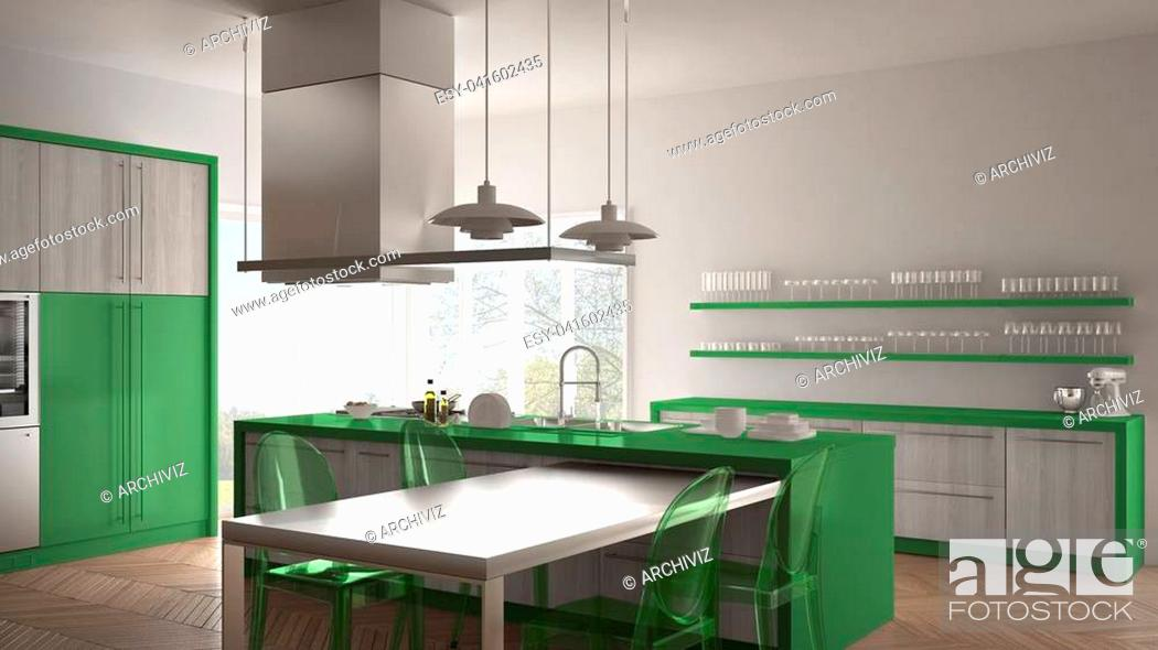 Stock Photo: Minimalistic modern kitchen with table, chairs and parquet floor, white and green interior design.