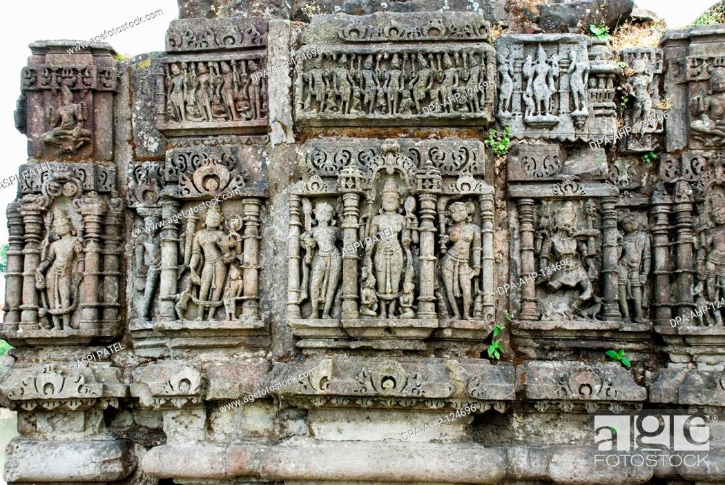 Stock Photo: UNESCO world heritage Champaner Pavagadh ; Lakulisha Temple built in 10-11th century AD contains fine images of Lakulisha ; Dakshinamurti ; Brahma ; Vishnu ;.