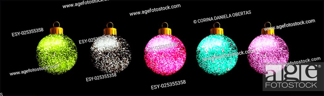 Stock Vector: Set of 5 glittered Christmas balls, on black background.