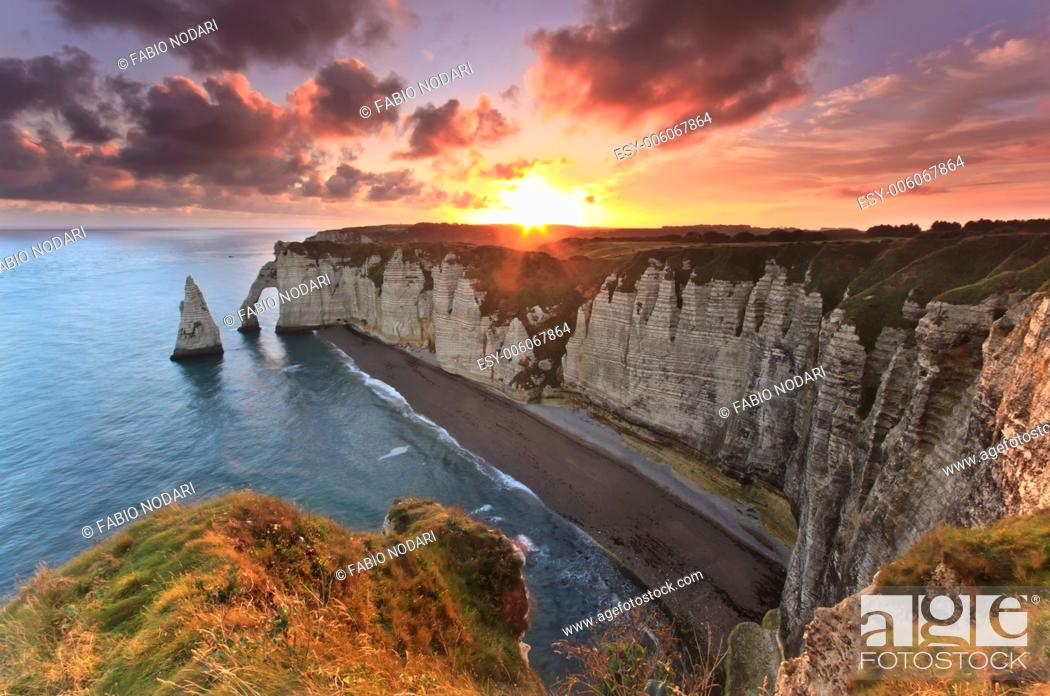 Stock Photo: Sunrise over Etretat, France.