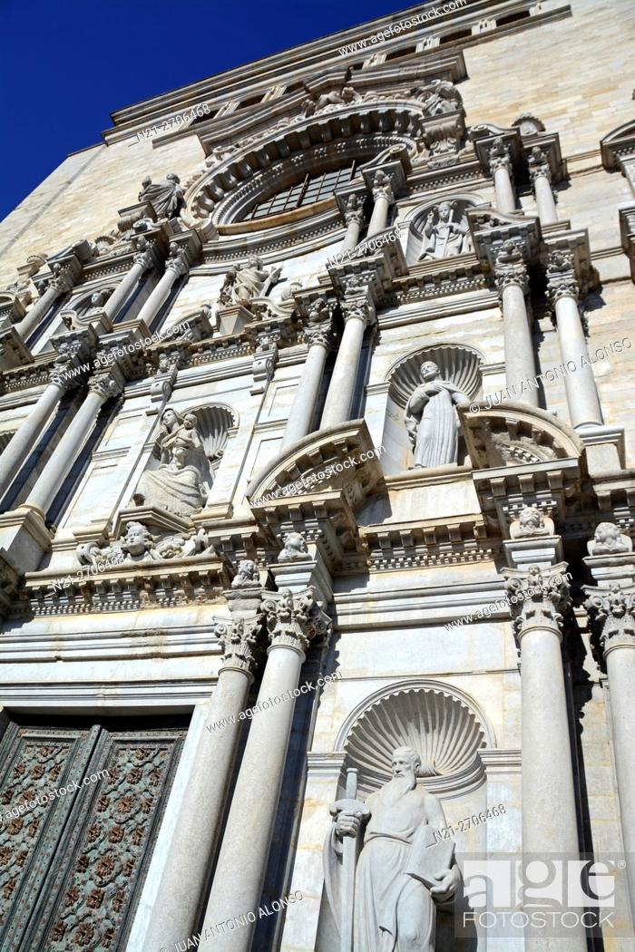 Catedral De Santa Maria De Girona Girona Catalonia Spain Europe