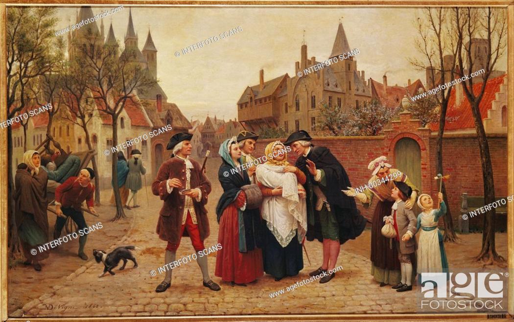 Stock Photo: Ü Kunst, Vigne, Felix de auch Devigne 1806 - 1862, Gemälde Eine Taufe in Flandern 1862 Museum voor Schone Kunsten, Gent 18. jh, menschen hist.