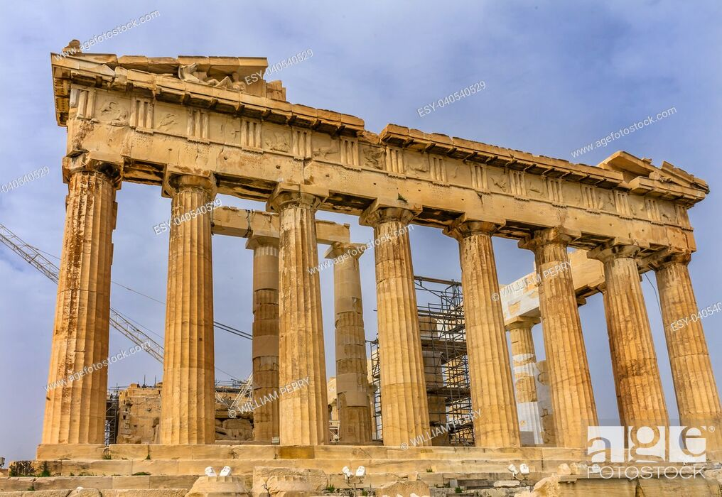 Stock Photo: Parthenon Acropolis Athens Greece. Parthenon is Temple to Athena on the Acropolis. Temple created 438 BC and is symbol of ancient Greece.