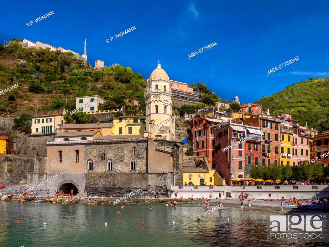 Stock Photo: Fishing village of Vernazza, UNESCO World Heritage Cultural Site, Cinque Terre National Park, Vernazza, Liguria, Italy, Europe.