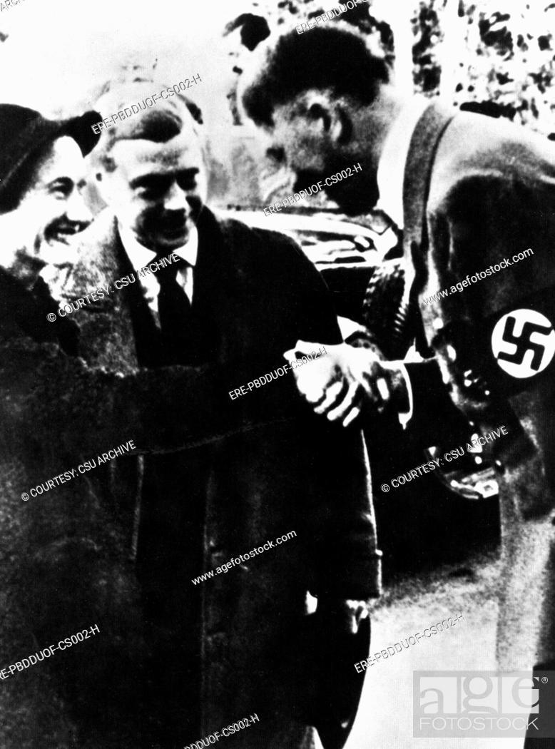 Stock Photo: DUCHESS OF WINDSOR WALLIS SIMPSON, with the Duke of Windsor and Adolf Hitler.