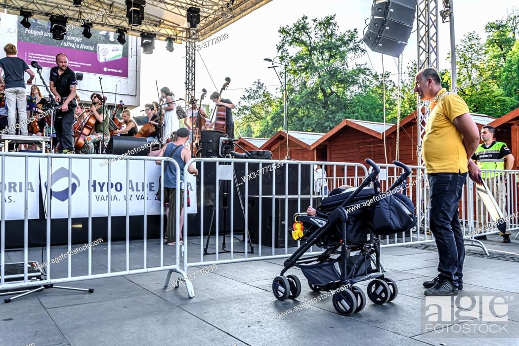 Stock Photo: Netherlands ensemble Ricciotti perform live at Trg djece Sarajeva.