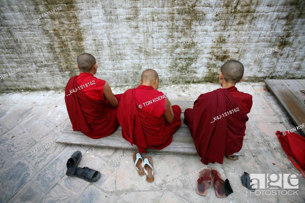 Stock Photo: Tibetan Monks in Kathmandu, Nepal.