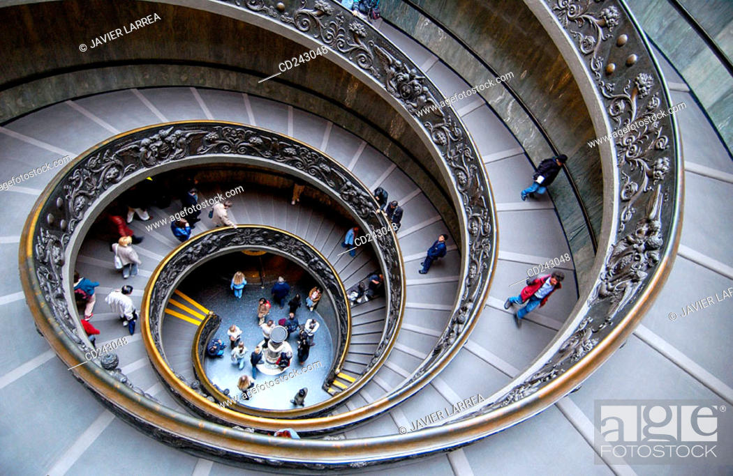 Stock Photo: Spiral stairs by Donato Bramante at Vatican Museums. Vatican City, Rome. Italy.