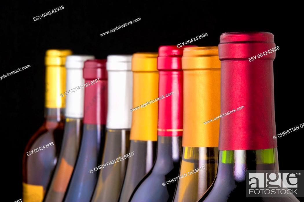 Stock Photo: Wine bottle necks.