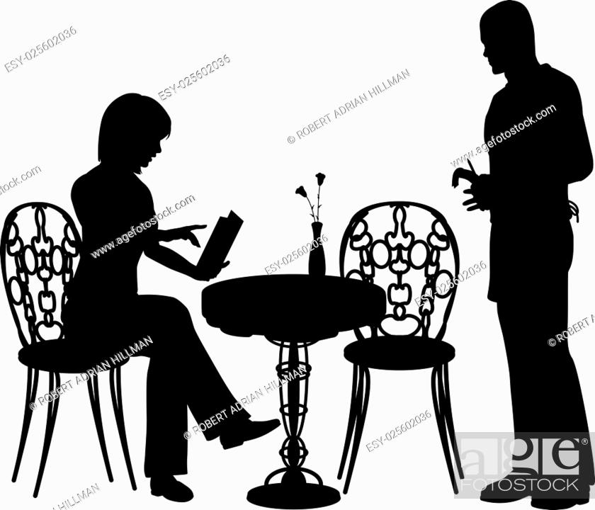 Stock Vector: Editable vector silhouette of a woman ordering food and drink from a waiter at a cafe or restaurant with all objects as separate elements.